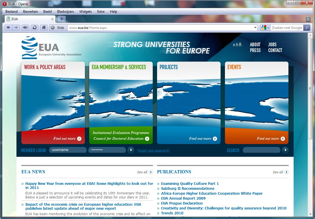 Screenshot www.eua.be